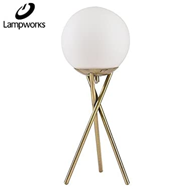 Lampworks Table Lamp Moon Decorative Bedside Lamp Metal Bracket Spherical Glass Lampshade Desk Lamp Modern Light for Bedrooms Living Room(Bulb Not Included)