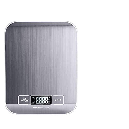 Báscula de cocina digital 5 kg / 10 kg báscula electrónica multifuncional de acero inoxidable pantalla LCD balanza de equilibrio báscula para hornear -Blanco_5Kg