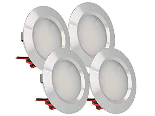 LEDLUX 4 Stück Mini LED Downlight Runde schlanke 3W DC 12V 24V Loch 50mm für Lichter Küche Badezimmer Camper [Energieeffizienzklasse A ++] (Silber-, 3000K)