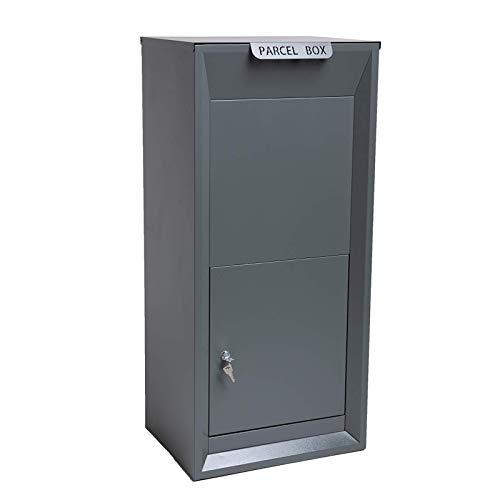 SVITA Parcel Box Paketbox aus Stahl Paket-Briefkasten mit Paketfach für Zuhause Grau
