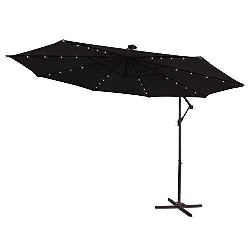 LARS360 Parasol Déporté Solar LED Parasol de Jardin Balcon Exterieur Avec Base Aluminium La structure Ø300 cm Protection UV40+ Imperméable Couleur Anthracite