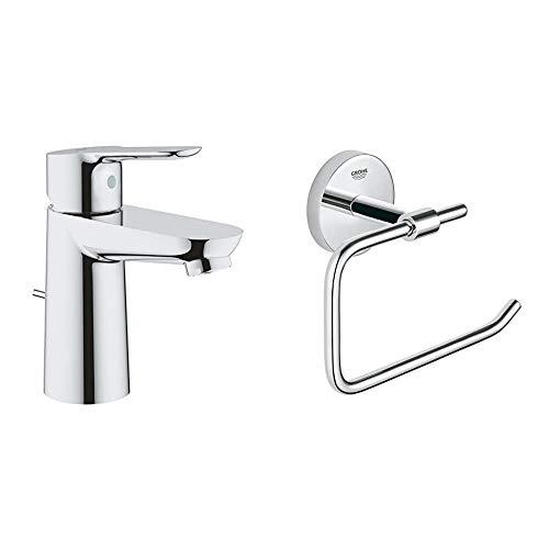 Grohe Bauedge - Grifo de lavabo con barra de tracción, vaciador automático y EcoJoy, tamaño S (Ref. 23802000) + Grohe BauCosmopolitan - Portarrollos de baño (Ref. 40457001)