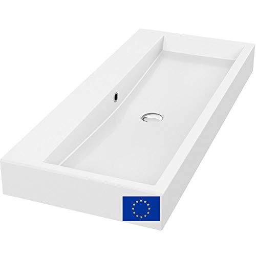 Design Waschbecken 100cm ohne Armaturloch ohne Hahnloch zur Wandmontage oder als Aufsatzwaschbecken ohne Armaturlöcher Hahnlöcher, 100x42cm, Mineralguss | hochwertig verarbeitet, Qualität MADE IN EU