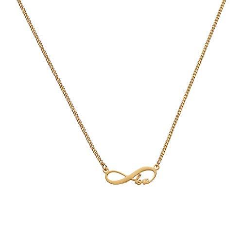 Draeger Paris – Collar de fantasía de metal dorado Infini Love – sin níquel – 45 cm – Ideal para regalo personalizado y diseño