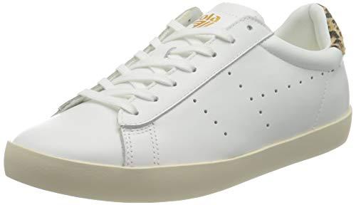 Gola Damen Nova Leather Sneaker, White/Leopard, 38 EU