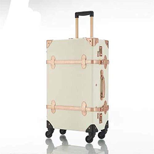 MJY Maleta Ruedas Vintage Cabin Trunk Retro 26 pulgadas Spinner Rolling Luggage Set Versión coreana Bolsa de viaje Trolley Women,Blanco,20