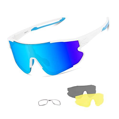 BangLong Gafas de sol polarizadas de ciclismo para hombres y mujeres con 3 lentes intercambiables, gafas de sol deportivas anti-UV para correr, pesca, escalada, golf, conducir o mountain bike