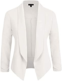 Michel Womens Casual Blazer Work Office Lightweight Stretchy Open Front Lapel Jacket Style Cardigan with Plus Size