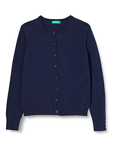 United Colors of Benetton 12DRC5420 Maglione Cardigan, Peacoat 252, M Bambina