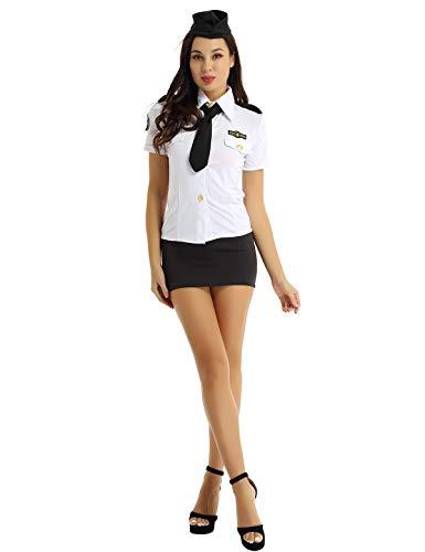 Yeahdor Damen Polizistin Kostüm Karneval Sexy Polizei Uniform 4PCS Kurzarm Hemd Minirock Krawatte Mütze Fasching Party Verkleidung Weiß&Schwarz Small