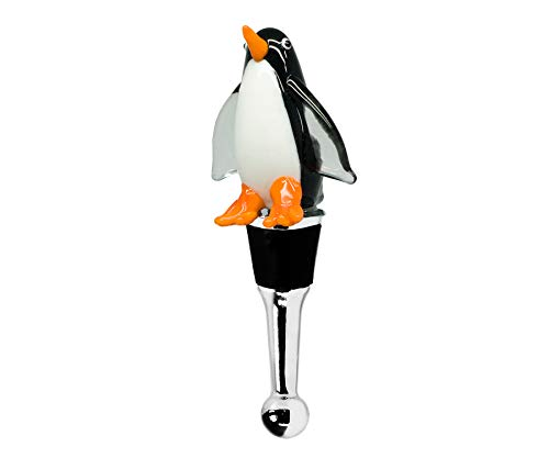 EDZARD Flaschenverschluss Pinguin für Champagner, Wein und Sekt, Höhe 12 cm, Muranoglas-Art, Handarbeit