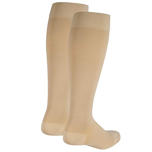Nuvein Compression Socks for Women and Men, Medical Support Stockings, Beige (Closed Toe), 3X-Large (20-30 mmHg)
