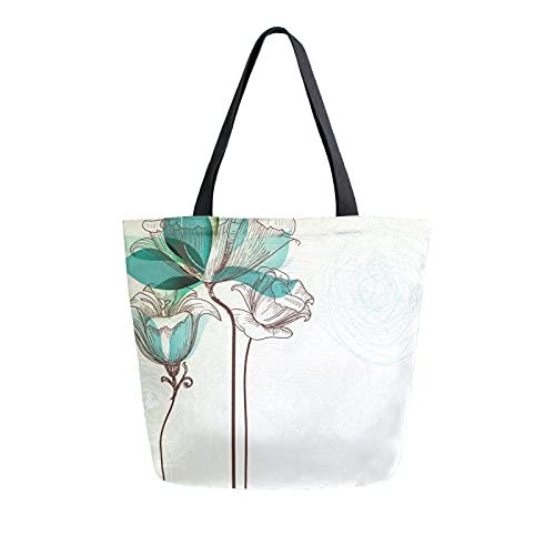 LUCKYEAH Bolso de lona con estampado de tulipán de flores para mujer, bolsa de hombro grande, reutilizable, bolsa de compras para niñas y mujeres