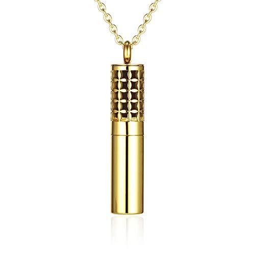 Home Wang Glamour Damen Anhängerätherisches Öl Behälter Gold Farbe 316L Edelstahl Anhänger Parfüm Flasche Aromatherapie Diffusor Halskette Medaillon Frauen-Gold Pes117