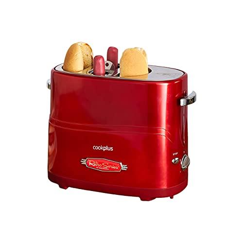 Cookplus Mutfaksever Hot Dog Maschine, 1200 W, Rot, 2 Würstchen und 2 Brötchen, 5 Kochstufen, Hotdog-Maker, Gerät für hausgemachte Hotdogs, 2 Jahre Garantie