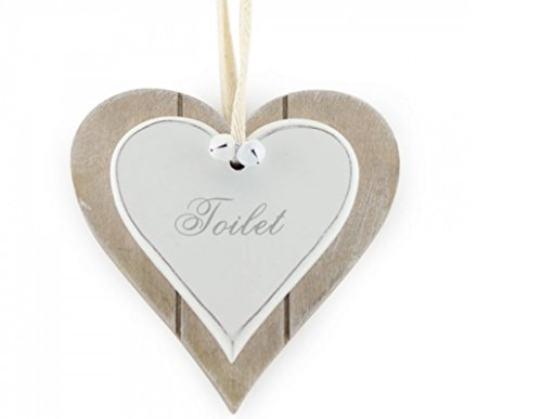 Shabby Chic Rustic Double White Heart Toilet Hanging Sign/Plaque 12x12cm by Lesser & Pavey