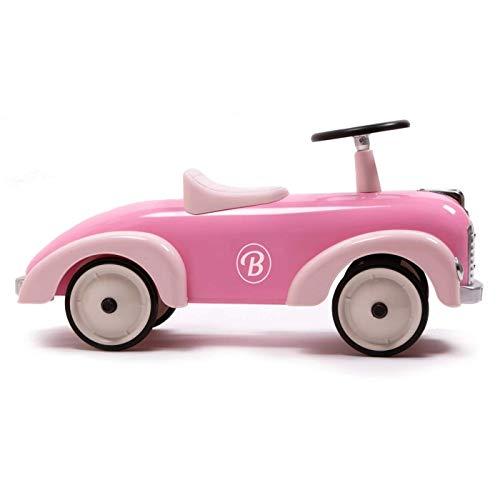 Baghera Rutschauto Blütenblatt Rosa | Rutschfahrzeug Rosa für Kinder mit zahlreichen lebensechten Details | Retro Rutschwagen für Kinder ab 1 Jahr