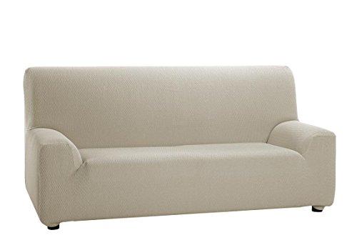 HIPERMANTA Funda elástica para sofá de 2 plazas, TÚNEZ, Medida de 120 a 190 cm. Marfil