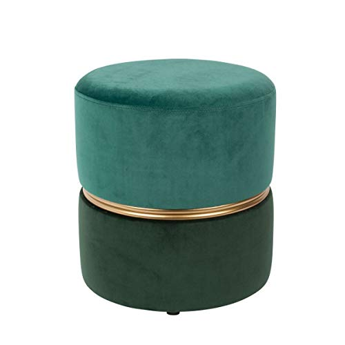 Mathi Design Art Deco - Sgabello pouf in velluto, colore: Verde