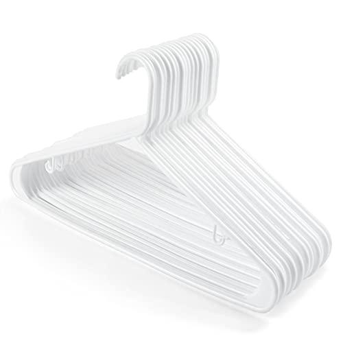HOUSE DAY Kleiderbügel Weiß Kunststoff, 24x Platzsparende Kleiderbügel L41cm für Nasse Wäschen, Blusen, T-Shirt, Hemden, Tops, Kleider, Hosen