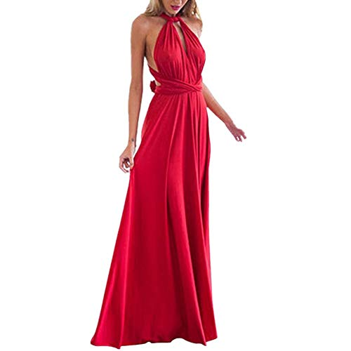 Lover-Beauty Kleider Damen V-Ausschnitt Rückenfrei Neckholder Abendkleider Elegant Cocktailkleid Multi-Way Maxikleid Lang Chiffon Party Kleid, Rot, (EU 38-40)L