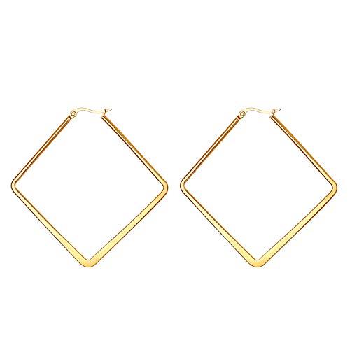 JewelryWe Schmuck Damen Ohrringe Edelstahl Poliert große Quadrat Viereck Geometrie Hoop Creolen Ohrstecker Gold 50mm