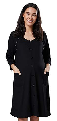 HAPPY MAMA Damen Geburtskleid Krankenhaus Umstands Nachthemd Stillfunktion. 637p (Schwarz, EU 44/46, XL)