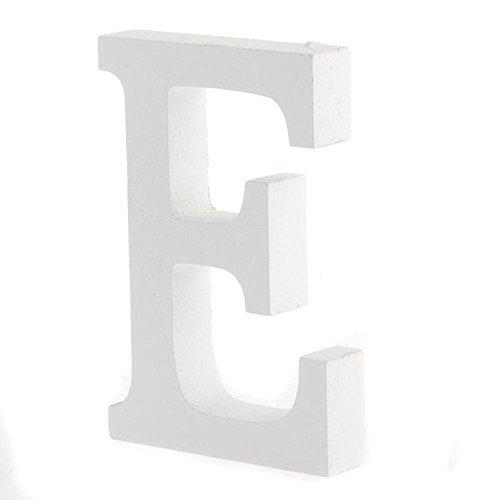 Worsendy Buchstaben Holz weiß, Handwerk Holz Holz Briefe Braut Hochzeitsparty Geburtstag Spielzeug Home Dekorationen 8 * 6CM (E)
