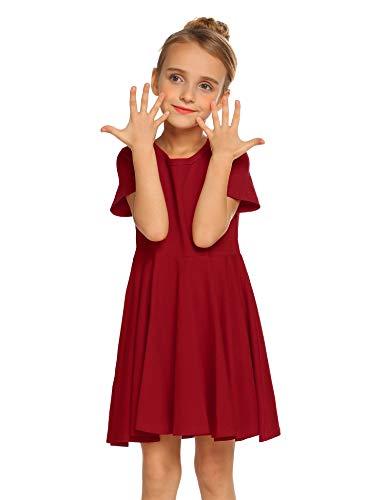 Trudge Mädchen Swing Kleider für Kinder Sommerkleid Hem Skaterkleid Kurzarm T Shirt Kleid Baumwolle Prinzessin Kleid einfarbig Basic FatternKleid Rundhals Freizeitkleidung Gr.92-164, Rot, 140