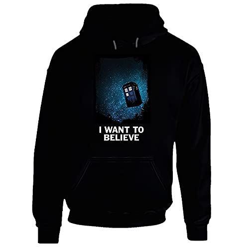 Sudadera con capucha con texto en inglés 'I Want to Believe Doctor Who Tardis TV Show', color negro