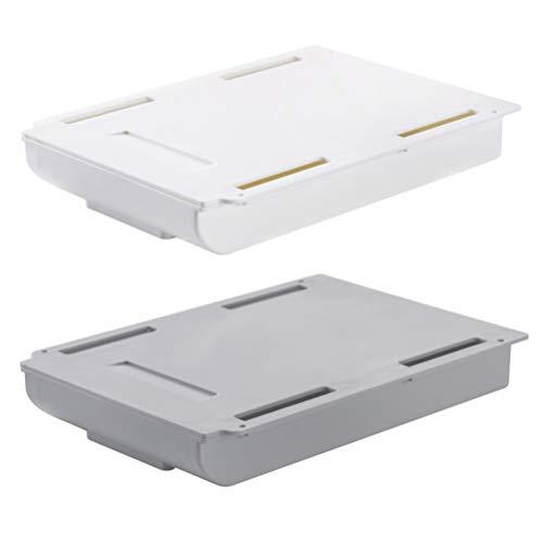 Cabilock 2 Stück Hängende Schublade Aufbewahrungsbox Schublade Bleistiftablage Abs Punsch Frei Kleber für Home Office Hängenden Organizer (Größe L Grau Weiß)