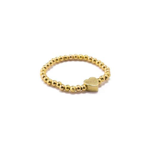 VESTOPAZZO PG4005S – Anillo elástico con microperlas y corazón, chapado en oro