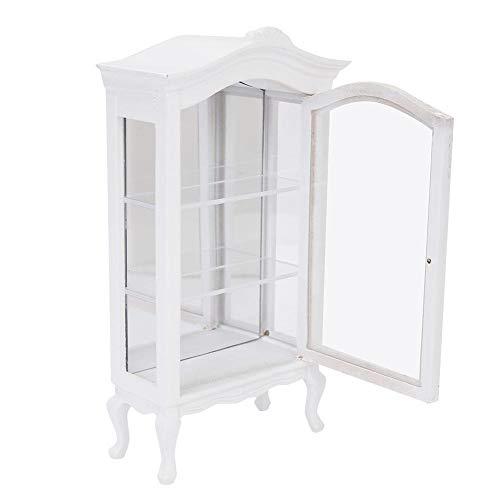 Zerodis 1:12 Miniatur Weiß Europäischen Stil Holz Puppenhaus DREI Schichten Transparente Fenster Dream Schrank Vitrine für Babys