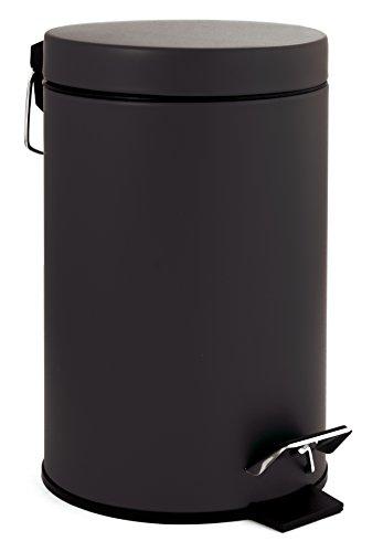 GELCO Design 709756 Poubelle A Pedale 3L, Métal, Noir, 22,5 x 17 x 26 cm