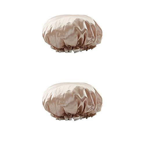 Capuchon de douche imperméable à l'eau de bain Double Capuchon de cheveux Capuchon de vapeur épaissi Pack de 2-Champagne * 2