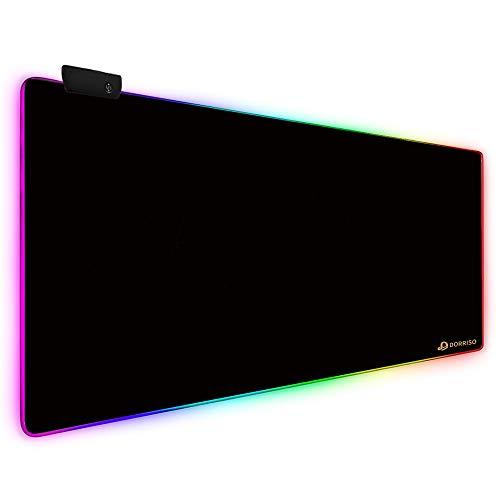 DORRISO Alfombrilla de Ratón Gaming RGB Extra Grande XXL 900x400 mm Juego Alfombrilla Raton Suave Impermeable con Base de Goma Antideslizante para Gamers Ordenador PC Laptop Negro