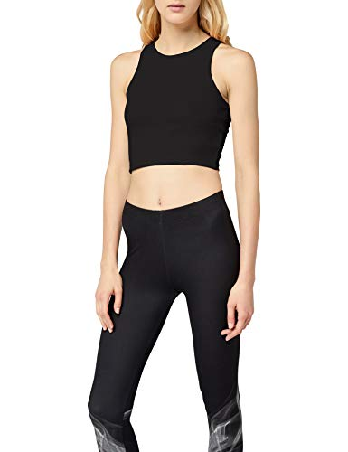 Urban Classic TB1498s Damen Ladies Cropped Rib Top Schwarz (Black 7), X-Small