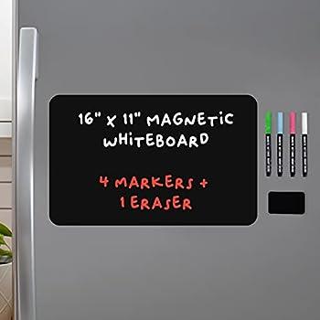 Magnetic Black Dry Erase Board for Fridge  with Bright Neon Chalk Markers - 16x11  - 4 Liquid Blackboard Markers with Magnet - Small Whiteboard Chalkboard for White Refrigerator