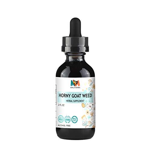 Horny Goat Weed Tincture - Organic Epimedium Grandiflorum, Barrenwort Liquid Herbal Supplement - May Help Support Immune System, Boost Vigor, Energy, Blood Flow - Vegan, No Alcohol, 2 fl oz