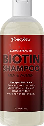 Extra Strength Volumizing Biotin Shampoo - Potent Zinc Keratin and Biotin Thinning Hair Shampoo with Rosemary Essential Oil for Fuller Looking Hair - Sulfate Free Shampoo for Dry Damaged Hair