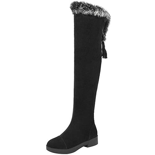 Aicciaizzi Damen S¨¹ss Niedrige Absatz Stiefel Overknees Niedrige Absatz Schlupf Herbst Winter Flach Party Kleid Black Size 39 Asian