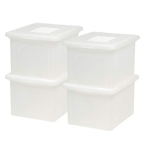 IRIS USA Letter & Legal Size Plastic Storage Bin Tote Organizing File Box with Durable and Secure Latching Lid, Stackable and Nestable, 4 Pack, Pearl