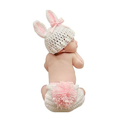 Isuper Neugeborenes Baby Nette Fotografie Requisiten Hut und Unterwäsche Baby Mädchen Strickmütze Kostüm Foto Fotografie Props Outfits (Rosa und Weiß)
