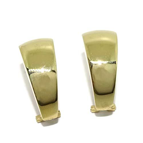 Pendientes de oro amarillo de 18k lisos brillo con cierre omega. 2.40cm de altos por 1.00cm de anchos