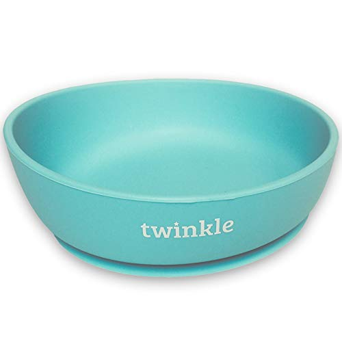 Twinkle - Magic Bowl - Bol de Silicona con Ventosa para Bebe - Plato Infantil Antideslizante con Succion para BLW y Aprendizaje Bebes (Bluee)