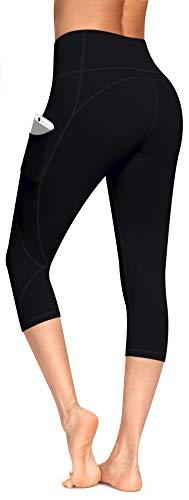 Lingswallow High Waist Yoga Pants - Yoga Capris with Pockets 4 Ways Stretch, Tummy Control Capri Workout Leggings for Women (Capris Black 11, Large)