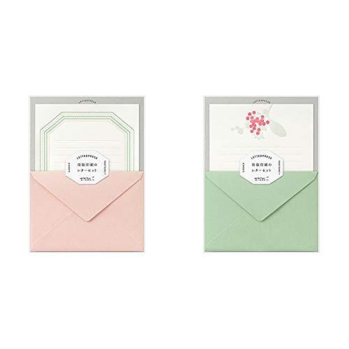 【セット買い】ミドリ レターセット 活版 フレーム柄 ピンク 86462006 & ミドリ レターセット 活版 ブーケ柄 赤 86460006