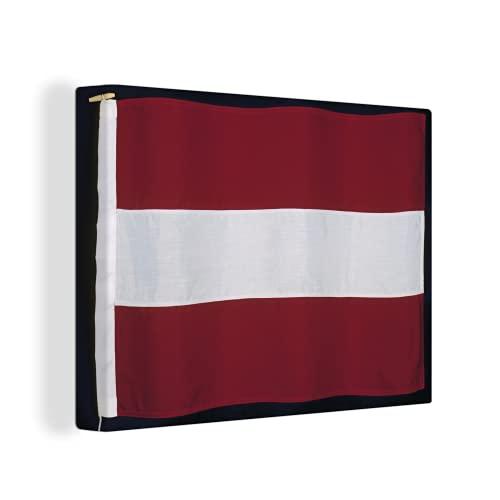 Leinwandbild - Nahaufnahme der Flagge von Lettland auf einem schwarzen Hintergr& - 40x30 cm
