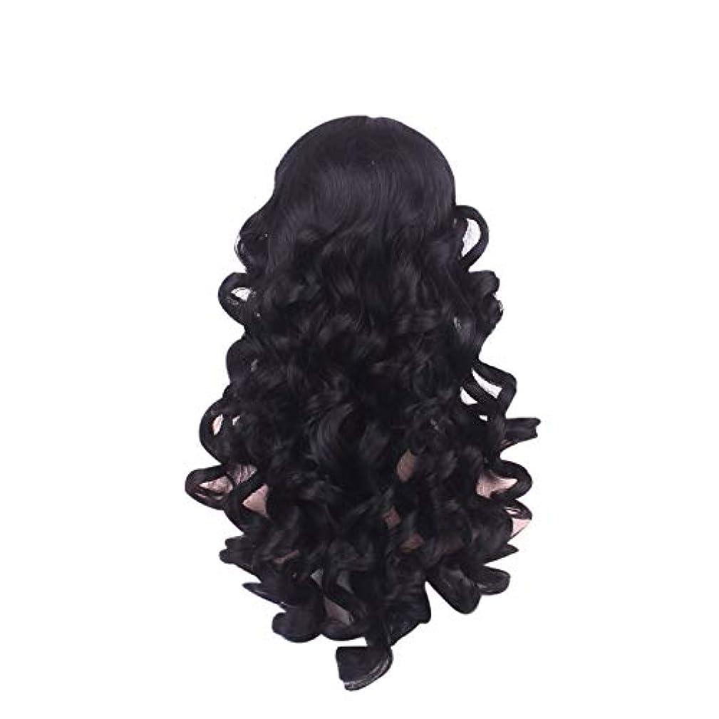 丈夫充実男性女性の長い巻き毛のファッションかつらローズネット65 cm