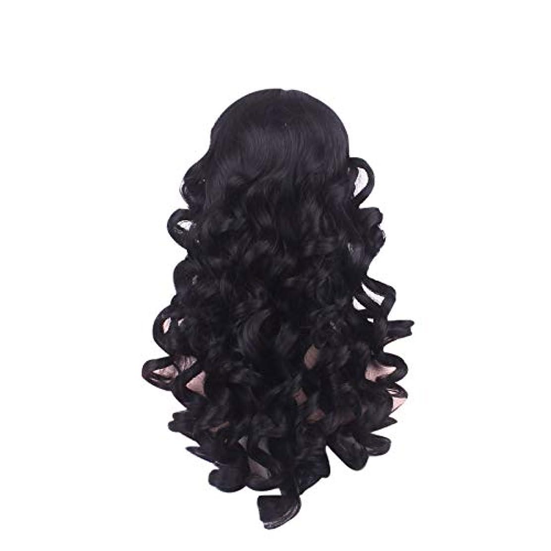 時代びん真実女性の長い巻き毛のファッションかつらローズネット65 cm